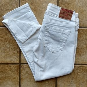 True Religion 25 White Cropped Lizzy Skinny Jeans